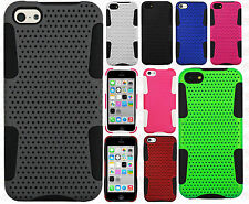 For Apple iPhone 5C MESH Hybrid Silicone Rubber Skin Case Phone Cover Accessory