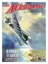 Hawker Tempest Aeroplane Mag Cover Print 1940s - Framed And Memo Board Available