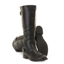 WOMENS BLACK RIDING STRETCH LEATHER LOOK WIDE CALF FIT LADIES FLAT BOOTS SIZE