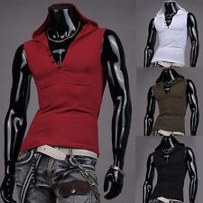 Sexy Men's Slim Fit Muscle Sleeveless Hoodies Hooded Vest Tank Tops Gym Shirts