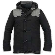 Mens Brave Soul Hooded Quilted Coat Lined Tweed Patches Casual Winter Jacket New