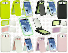 Samsung Galaxy S III 3 Rubberized Flip Mirror Kickstand Protector Case Cover