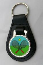 TENNIS LEATHER KEY FOB Keyring Gift Choice of Colours NEW