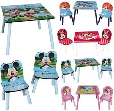 DISNEY WOODEN CHILDRENS TABLE TWO CHAIRS SET KID DESK BEDROOM PLAYROOM FURNITURE