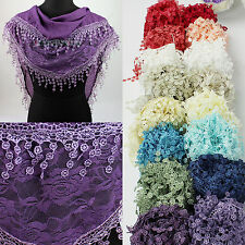 Rose Floral Tulle Lace Stitching Fabric Triangle Scarf Shawl Lace Trim Tassel