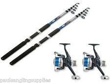 2 Telescopic Lineaeffe Fishing Rods + Reels 7 , 8 10 or 12 ft Rods Reels + Line