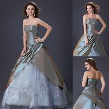 Western Bridal Wedding Gown Ball Formal Full Length Layered Dresses 6 Sizes