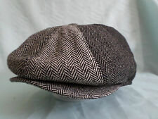 BROWN HERRINGBONE 1920,S 1930,s RETRO VICTORIAN EDWARDIAN PEAKY BLINDERS CAP