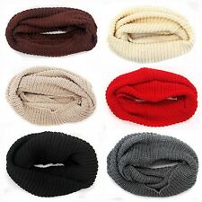 New Winter Women Warm Infinity 2 Circle Cable Knit Cowl Neck Long Scarf Shawl