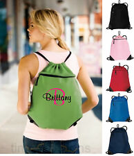 Personalized Monogrammed Drawstring Cinch Tote Backpack Bag Beach Cheer Wedding