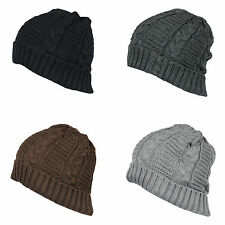Z92 MENS CHUNKY WOOLY WINTER WARM KNITTED TURN UP BAGGY SLOUCH BEANIE SKI HAT