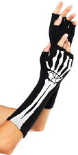 NEW Sexy Skeleton Fingerless Gloves Arm Warmers Gloves Women's Costume Accessory
