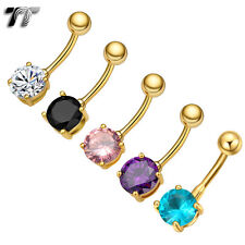 TT 14K Gold Sparkling CZ Round Belly Bar Ring Choose Colour 6mm-12mm Stone