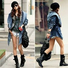 2013 Punk Style Women Denim Trench Hoodie Jacket Cool Hooded Jean Outerwear E