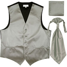 New Men's Horizontal Stripes Tuxedo Vest Waistcoat & Ascot Set Gray silver prom