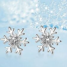 18K GOLD GF SNOWFLAKES STUD SWAROVSKI CRYSTAL EARRINGS SMALL CUTE