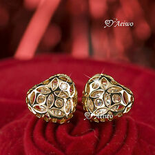 18K GOLD GF LOVE HEART STUD SWAROVSKI CRYSTAL FILIGREE EARRINGS
