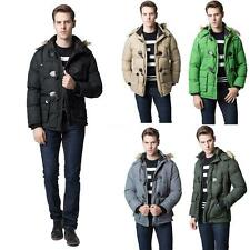Winter Mens Parka Faux Fur Collar Hooded Coat Thick Warm Jacket Hot Outerwear