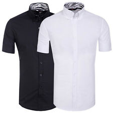 New Mens Boys Slim Fit Casual Short Sleeves Dress Shirts Formal Business Shirts