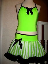 Girls Green,Black,white,striped,frilly Skirt,top,headband dance,Party,Gift Set