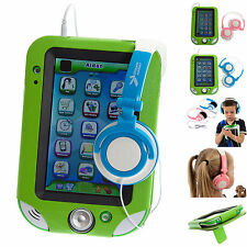 """Ultimate Addons Green Leather PU Case + Headphones for LeapFrog LeapPad Ultra 7"""""""