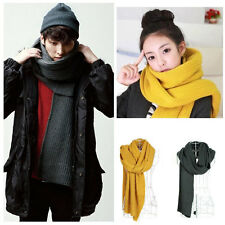 Korean Women Men Winter Scarf Knit Knitted Solid Long Warm Unisex Wrap Shawl