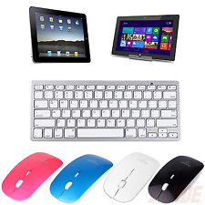 Slim Bluetooth Mice & Wireless Silver Keyboard for Android 3.1+ Tablet PC Laptop