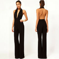 Women Sexy Elegant Lace Halter Deep V Neck Open Back Backless Jumpsuit Romper