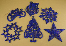 5 PACK One Style ROYAL BLUE GLITTER Christmas FLAT Ornament CHOOSE From 6 STYLES