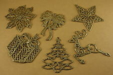 5 PACK One Style GOLD GLITTER Christmas FLAT Ornament CHOOSE From 6 STYLES