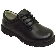 BOYS KIDS CHILDRENS BLACK LEATHER SCHOOL LACE-UP COMFORT SHOES SIZES 13-5