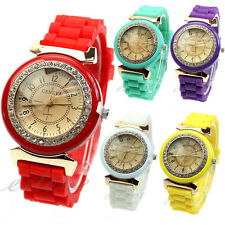 Geneva Silicone Quartz Wrist Watch Retro Golden Crystal Stone Ladies Womens Girl