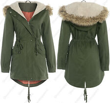NEW OVERSIZED HOOD PARKA Ladies JACKET COAT FISHTAIL Womens Size 8 10 12 14 16
