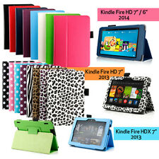 "For NEW 2014 Amazon Kindle Fire  HD 7 6 HDX 7"" Folio Leather Case Cover Stand"