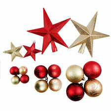 CHRISTMAS TREE DECORATIONS SHATTERPROOF - STARS, BALLS/BAUBLES PACK - RED / GOLD