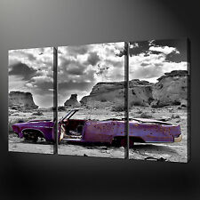 CLASSIC CAR SET OF THREE QUALITY CANVAS PRINT PICTURE WALL ART FREE UK P&P