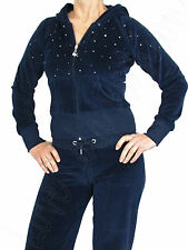 Womens Velour Tracksuits Ladies Joggers Diamante Suits Gems Stones Quality Navy