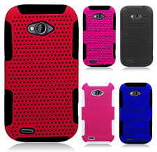 For ZTE Savvy Z750C MESH Hybrid Silicone Rubber Skin Case Phone Protector Cover