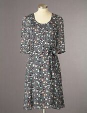 Boden Women's Brand New Pretty Belted Dress Grey Floral Party