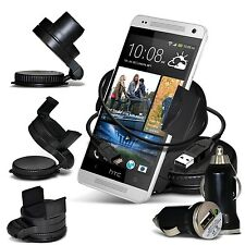 Windscreen 360° Car Holder, USB Car Charger & Data Cable For HTC Mobile Phones