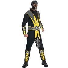 Mens Scorpion Mortal Kombat Costume Fighting Video Game Ninja Party Outfit +Mask