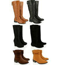 WOMENS LADIES FASHION ANKLE KNEE HIGH SUEDE WEDGE FLAT RIDING BOOTS SHOES SIZE