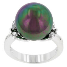 Kate Bissett Silvertone  Faux Pearl and Cubic Zirconia Ring