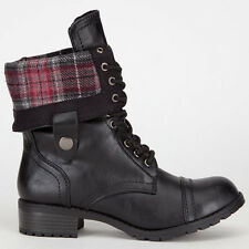 Womens Military Combat Boots Black PU-Leather Foldable Laced Up Riding Plaid