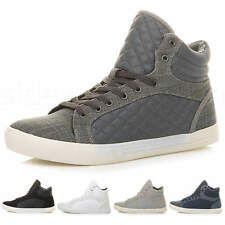 MENS FLAT LACE UP QUILTED CASUAL HI HIGH TOP ANKLE BOOTS TRAINERS SNEAKERS SIZE