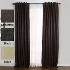 Faux Leather Insulated Thermal 84-inch Curtain Pair