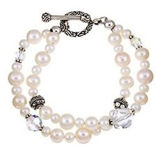 Lola's Jewelry Sterling Silver Double-strand White Freshwater Pearl Bracelet (8