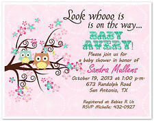 10 Your Color Printed Owl Tree Branch Custom Baby Shower Invitations & Envelopes