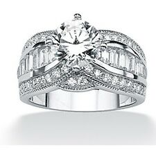 Palmbeach CZ Platinum over Silver White Cubic Zirconia Ring
