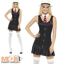Sexy Schoolgirl Costume + Hat Ladies Student Uniform Womens Fancy Dress Outfit